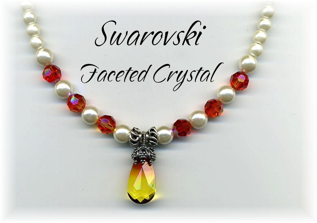 Swarovski Faceted Crystal and Flux Pearl Necklace
