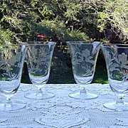 SALE Lovely Gray Etched Juice Glasses