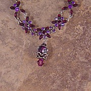Rhinestone and Lampwork Bead Necklace