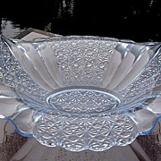 SALE Fenton Daisy and Button Crystal Transparent Blue Bowl