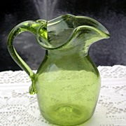SALE Hand Blown Pitcher with Metal Flake or Dust in Glass
