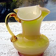 SALE Cased Glass Miniature Pitcher by Kanawha