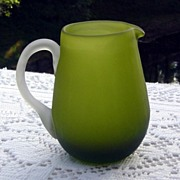 SALE Hand Blown Green Satin Glass Pitcher