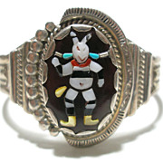 Ronnie Olivia Calabaza Inlay Bracelet Zuni NM Dancer Cuff Sterling