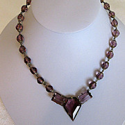 Stunning Signed Czech Amethyst Step Glass Gilt Necklace