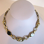Vintage 1930's Art Deco Black Glass & Brass Necklace