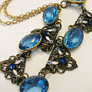 Gorgeous Vintage 1930s Deco Czech Glass & Enamel Necklace