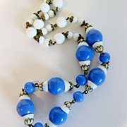 Vintage 1930's Glass Bead & Enamel Necklace