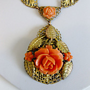 Vintage Art Deco Faux Coral Filigree Pendant Necklace