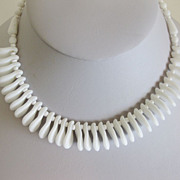 Gorgeous and Unique 1950's Milk Glass Modernist Necklace Choker