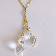 Vintage 1930's Faceted Teardrop Crystals on 12K GF Chain