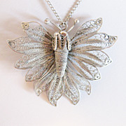 Vintage 800 Silver Large Butterfly Pendant Necklace