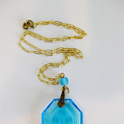 Gorgeous Vintage Carved Glass Bluebell Pendant 14K GF Chain