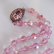 Gorgeous Pink Aurora Borealis Glass Bead Necklace Fancy Clasp