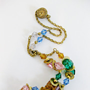 Gorgeous Unusual Vintage 1930's Czech Faceted Glass Bead Necklace