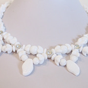 Vintage 1950's Milk Glass and Rhinestone Necklace Western Germany