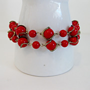 Vintage 1950's Atomic Caged Red Bead Bracelet