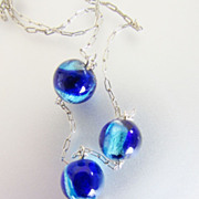 Vintage Sterling Silver 925 Blue Foil Art Glass Bead Dainty Chain Necklace