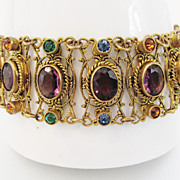 SALE PENDING Gorgeous Vintage 1930's Brass Filigree Rhinestone Bracelet