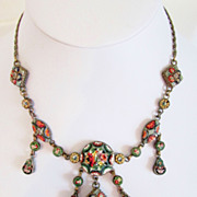 Rare Antique Victorian Italian Micro Mosaic Festoon Necklace