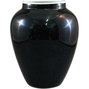 SALE Sinclaire Opaque Nubian Black Vase With White Rim