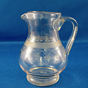 SALE Salesman Sample Engraved Cut Glass Pitcher