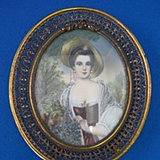 SALE Signed Miniature Portrait of a Young Woman on Vellum 1870