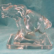 SOLD New Martinsville Glass Elephant Bookends