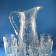 SALE American Cut & Engraved Glass Pitcher & Tumblers