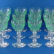 SALE 12 Green & Clear Cut Glass Wine Glasses