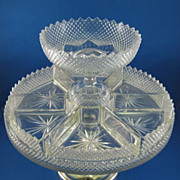 SALE Brilliant Cut Glass 8 Part Serving Tray