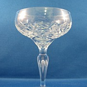 SALE Cut Glass Champagne Glass With Tear Drop Stem