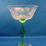 SALE Art Deco Cut & Engraved Clear & Green champagne