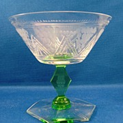 SALE Art Deco Cut & Engraved Clear & Green Low Champagne