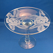 SALE Duncan Miller Magnolia Engraved Compote