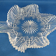 SALE American Brilliant Cut Glass Leaf Tray