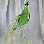 SALE Green & Clear Murano Bird