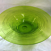 SALE Large Lime Green Glass Bowl With Reeding.