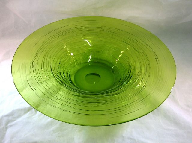 Large Lime Green Glass Bowl With Reeding.