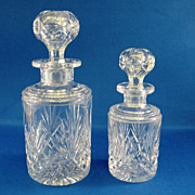 SALE 2 Val St Lambert Cut Glass Perfume or Cologne Bottles