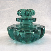 SALE Victorian Cut Glass Aquamarine Perfume Bottle