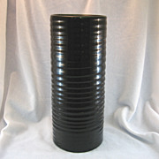 SOLD Frankoma Ringed Cylinder Black Vase