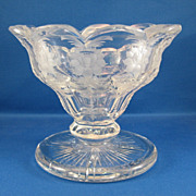 SALE Engraved & Cut Glass Footed Bowl