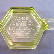 SALE Vaseline Advertising Logue Brothers Insurance Ashtray