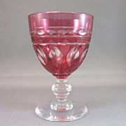 SALE Val St Lambert Rose Wine Glass