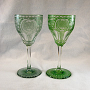 SALE 2 Bohemian Engraved Wine Glasses