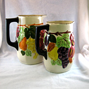 SALE 2 Southern Potteries Blue Ridge Sculptured Fruit Pitchers