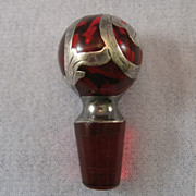 SALE Red Glass Silver Overlay Stopper