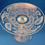 SALE Libbey Cut & Engraved Glass Compote
