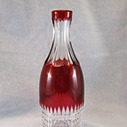 SALE Cranberry Cut To Clear Cut Glass Barber's Bottle